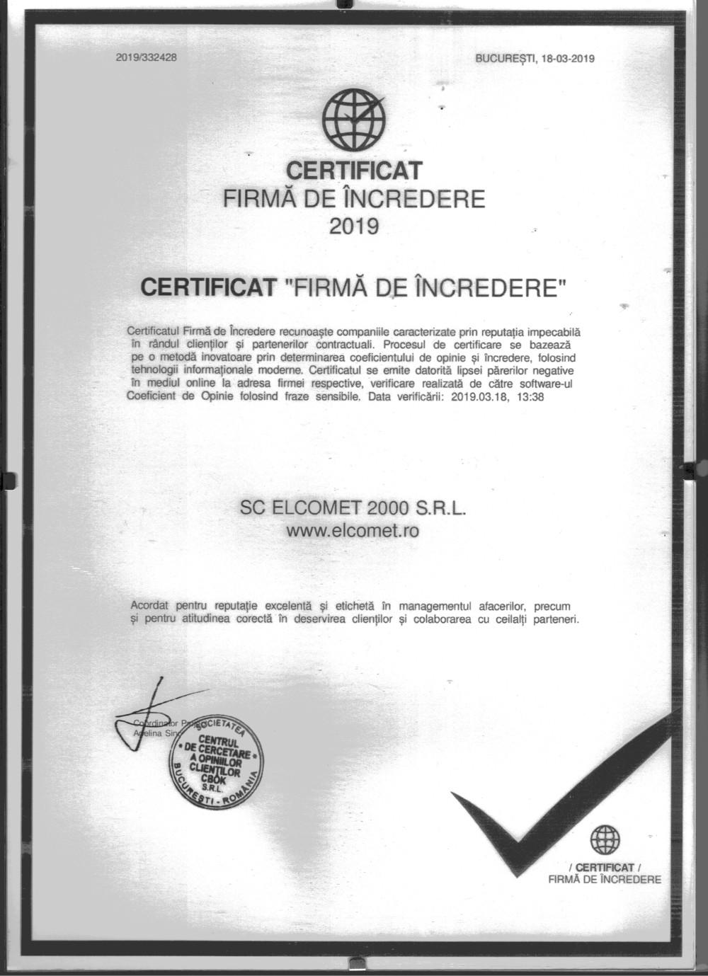 Certificat Firma Incredere 2019